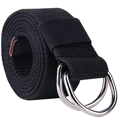 ROFIFY Mens Canvas Web Belt Vegan Nylon Military D-ring Metal Buckle for Men Belts Solid Color BLACK 140cm