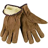 MCR Safety 3170XL Premium Grade Split Leather Insulated Driver Men's Gloves with Pile Lined and Keystone Thumb, Brown, X-Large,, 1-Pair
