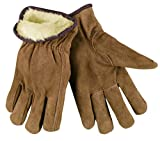 MCR Safety 3170L Premium Grade Split Leather Insulated Driver Men's Gloves with Pile Lined and Keystone Thumb, Brown, Large, 1-Pair