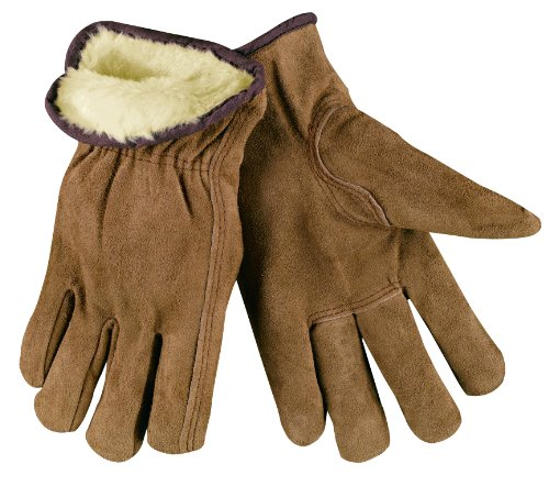 MCR Safety 3170L Premium Grade Split Leather Insulated Driver Men's Gloves with Pile Lined and Keystone Thumb, Brown, Large, 1-Pair Memphis Split Leather Driver