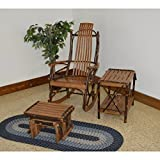 A & L Furniture Co. Amish Bentwood 7-Slat Hickory Rocking Chair With Gliding Ottoman and End Table Set