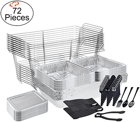 TigerChef 0026-CATERSET Catering Set Serving Dishes for Parties Includes Chafer Pans Set and Disposable Serving Utensils, Spoons and Tongs, Complete Party Serving Supplies Pack of 72