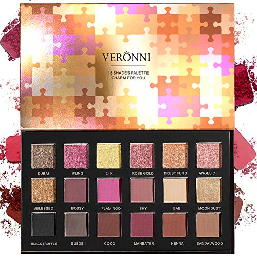 18 Colors Highly Pigmented Pressed Matte + Shimmer Eyeshadow Palette - Professional Metallic Colorful Natural Mineral Neutral Taupe Pink Red Gold Bright Sparkle Glitter Smokey Eye Shadows Makeup Cream