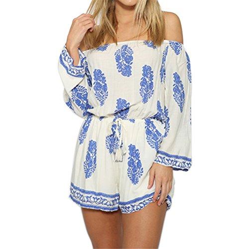 SIMSHION Women's Boho Floral Print Off Shoulder Strapless Short Jumpsuit Playsuit Romper WhiteBlue L
