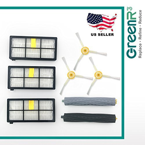 GreenR3 1-Set Replacement Robotic Parts Kit FOR iRobot ROOMBA 800 900 Series Fits 980 960 961 964 850 860 861 864 866 870 871 880 890 894 includes 3 x HEPA filters + 3 x brushes+ 2 x Roller Extractors by GreenR3