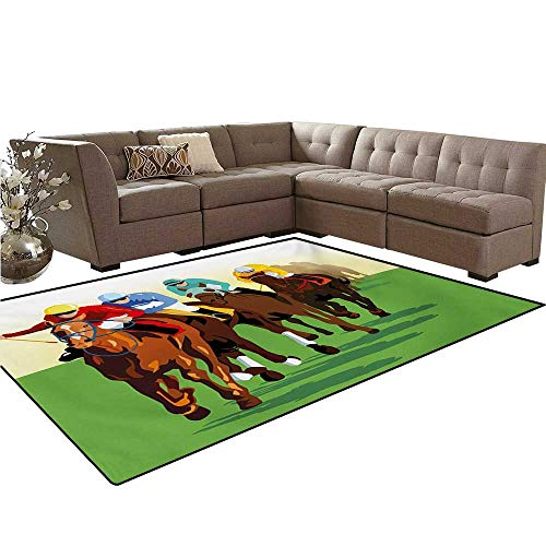 Horse Customize Door mats for Home Mat Vibrant Colorful Competitive Scene with Jockeys Racing Horses Equine Retro Artwork Bath Mats Carpet 6'x7' Multicolor -