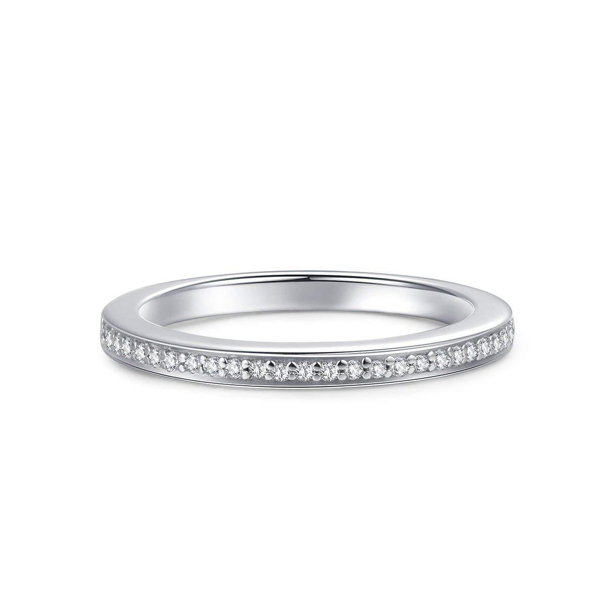 Hafeez Center 2.0mm Rhodium Plated Sterling Silver Micropave Cubic Zirconia CZ Half Eternity Wedding Ring (8)