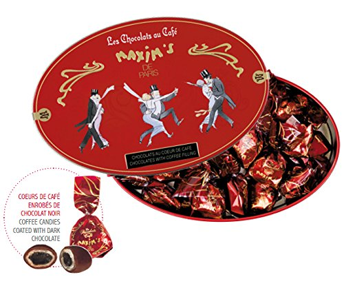 Maxim's de Paris French Gourmet Dark Chocolate Candies with a Heart of Coffee Gift Tin 6.2oz