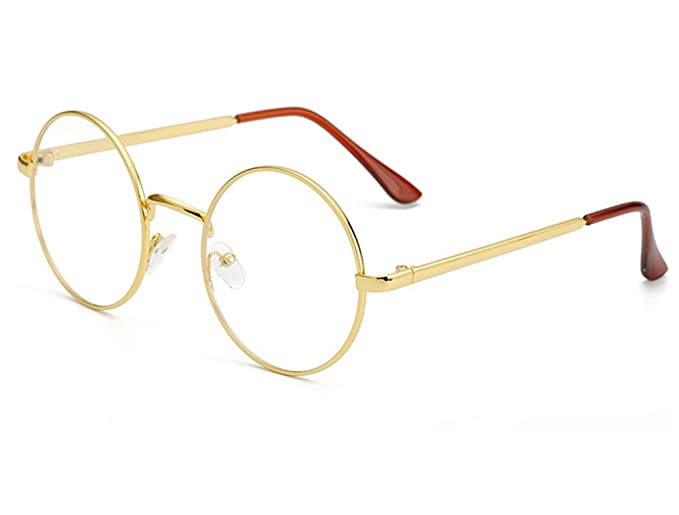 000f6cfbe0 Bonvince Non-Prescription Round Circle Frame Clear Lens Glasses Gold Clear