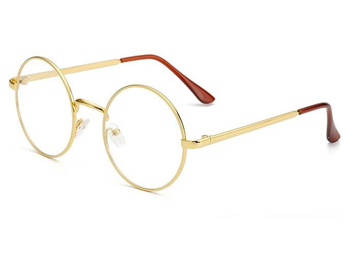 cc3d0099415 Bonvince Non-Prescription Round Circle Frame Clear Lens Glasses Gold Clear