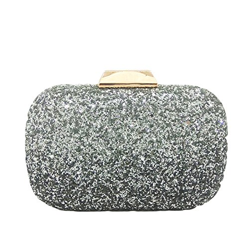 Handbag Ladies Party Bag Dinner Banquet Gradient Color Clutch Fashion Sequin Evening Bag Dress Bag Bag Chain Silver Crossbody rRwzrfOB