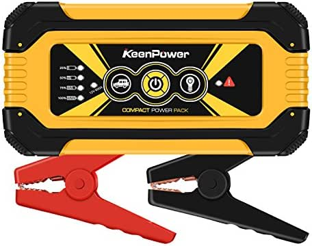 KeenPower 12000mAh 600A SuperSafe Car Jump Starter(Up to 6.0 Gas or 3.0 Diesel Engine) 12V Portable Power Pack Auto Battery Booster Phone Charger Built-in LED Light (YELLOW600)