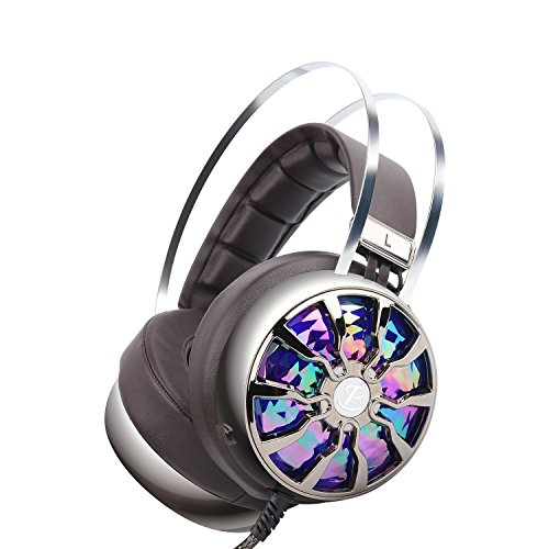 Cheap PC Gaming Headset with Microphone, Wired Over Ear USB Gaming Computer Headphones Noise Canceling with 7.1 Virtual Surround Sound 3D Vibration 4 Speakers with Hidden Mic, Vibration Control, LED Light
