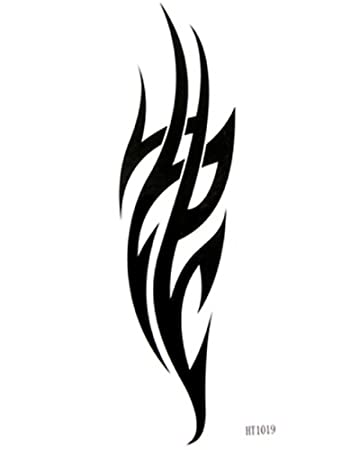 Flame tattoo stickers waterproof male and female black totem tattoo creative diy tattoo stickers by king
