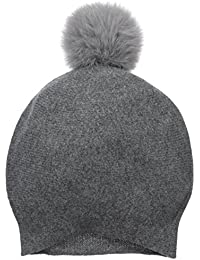 Women's Cashmere Blend Slouchy Beanie With Fur Pom