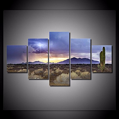 [Medium] Premium Quality Canvas Printed Wall Art Poster 5 Pieces / 5 Pannel Wall Decor Desert Storm Painting, Home Decor Pictures - With Wooden Frame (Pictures Storm)