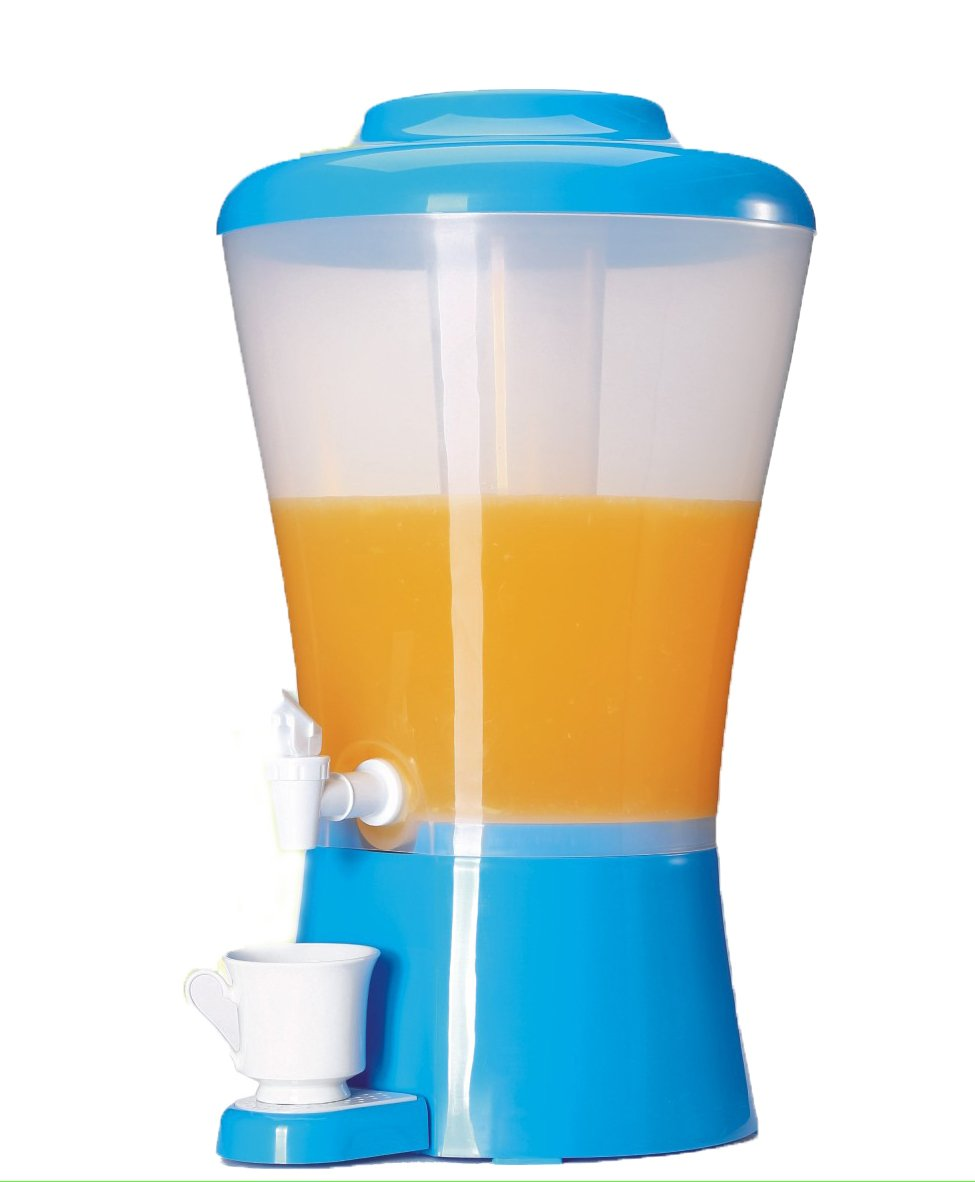 Palais Dinnerware Plastic Beverage Drink Dispenser with Ice Tube (Blue)