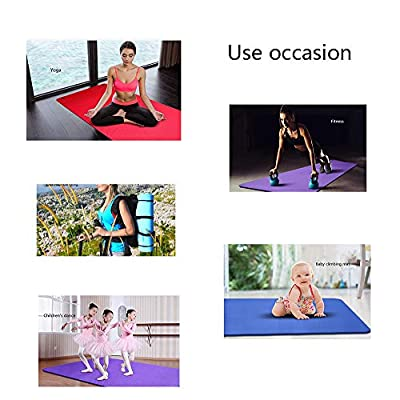 ROM Environmentally Friendly Yoga Mat, Non Slip Thick Soft Carry Strap Lightweight Eco Long Multicoloured NBR Foam Natural Rubber Rugs for Home Gym Sports Fitness Eercise