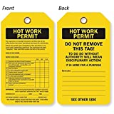 Hot Work Permit / Do Not Remove, Sealed 30 mil Plastic, Grommet, 10 Tags / Pack, 5.875'' x 3.375''