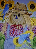 Scarecrow Bluebirds Sunflowers Large Flag