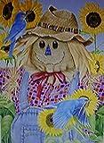 Scarecrow Bluebirds Sunflowers Large Flag