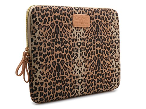 Kayond KY-03 Canvas Fabric 13 Inch Laptops sleeve Brown Leopard Print