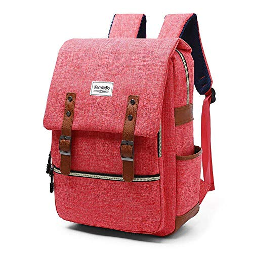 Kemladio Vintage Backpack 15.6 Inch Slim Laptop Bag College Backpack School Bag Casual Daypack for Travel and Trip (Pink)