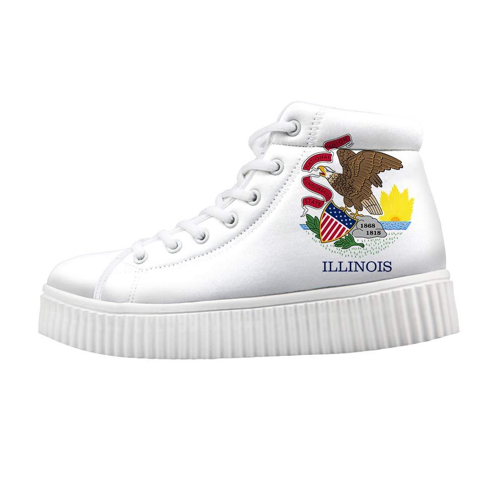 Owaheson Platform Lace up Sneaker Casual Chunky Walking Shoe Women Illinois Flag