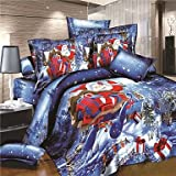 Quilt cover Blue Christmas Duvet Cover Set Hot Santa Claus Bedding Set Queen King , king