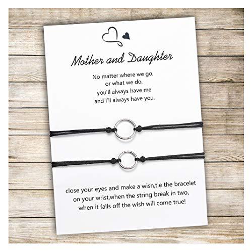 Tarsus Mom Daughter Bracelet Set for 2 Best Mother's Day Gifts Birthday Gifts From Mother Handmade Cord String Bracelet Jewelry Gift for Women Teen ()