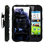 MINITURTLE Case Compatible w/ZTE Allstar 818L, High Impact Belt Clip + Holster Stand Hard Shell Case Combo Demons | Skulls | Monster Artwork Series - Black and Purple Wolf