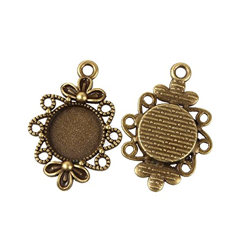 (Pandahall 10pcs 12mm Vintage Tibetan Style Alloy Pendant Cabochon Bezel Settings Nickel Free Antique Bronze Flat Round Tray)