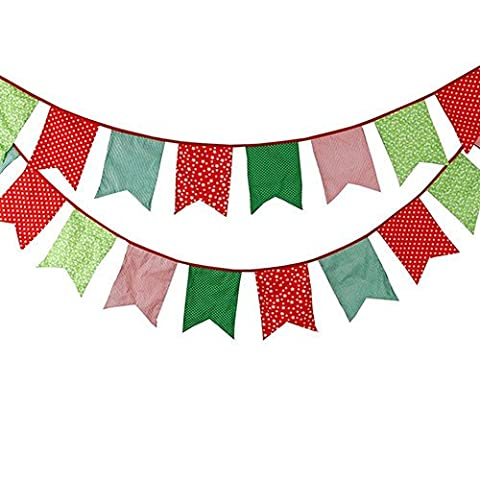 3.5M/11Feet Lovely Bunting Cotton Flag Banner Pennant Flag Garland Fabric Triangle Flags Double-Sided Vintage Cloth Shabby Chic Decoration for Birthday - Cloth Flag