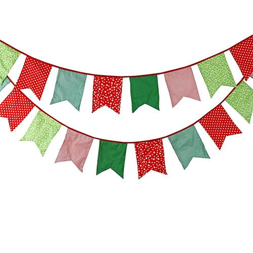 FirstKitchen 3.5M/11Feet Lovely Bunting Cotton Flag Banner Pennant Flag Garland Fabric Flags Double-Sided Vintage Cloth Shabby Chic Decoration for Birthday Parties,Ceremonies,Bedrooms (Pennant Fabric)