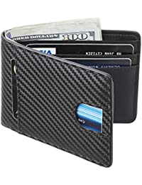 Mens Leather Wallet Slim Front Pocket Wallet Billfold RFID Blocking