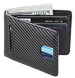 Casmonal Mens Leather Wallet Slim Front Pocket Wallet Billfold RFID Blocking (carbon fiber leather black)