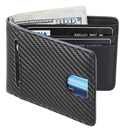 r Wallet Slim Front Pocket Wallet Billfold RFID Blocking (carbon fiber leather black) (Pocket Billfold)