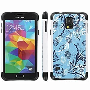[ArmorXtreme] Drop Proof Dual Layer Protection Case (Cold Flower Blue) for Samsung Galaxy S5
