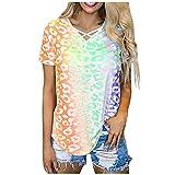 KESEELY Women's Casual Tie-Dye T Shirt O-Neck