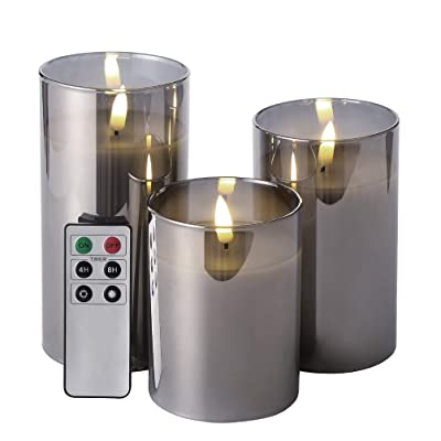 """Eywamage Glass Flameless Candles with Remote Battery Operated Flickering LED Pillar Candles Real Wax Wick 3 Pack D 3"""" H 4"""" 5"""" 6"""" Grey: Home Improvement"""