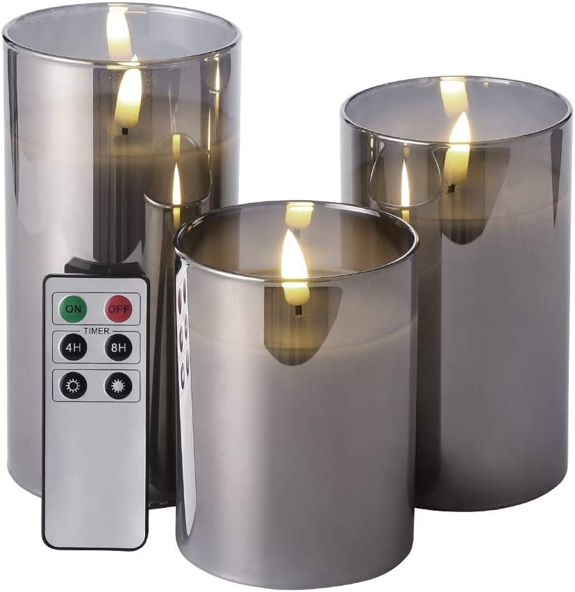"Eywamage Glass Flameless Candles with Remote Battery Operated Flickering LED Pillar Candles Real Wax Wick 3 Pack D 3"" H 4"" 5"" 6"" Grey"
