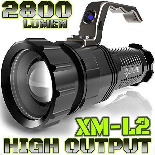 ALPHA TEK ATK280 2,800 Lumen CREE  XM-L2 T6 LED Rechargeable Spotlight, 6.5-Inch, Black (No Battery)