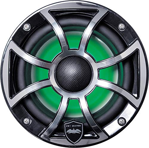 Wet Sounds REVO 6-XSB-SS Black XS/Stainless Overlay Grill 6.5 Inch Marine LED Coaxial Speakers (Pair)