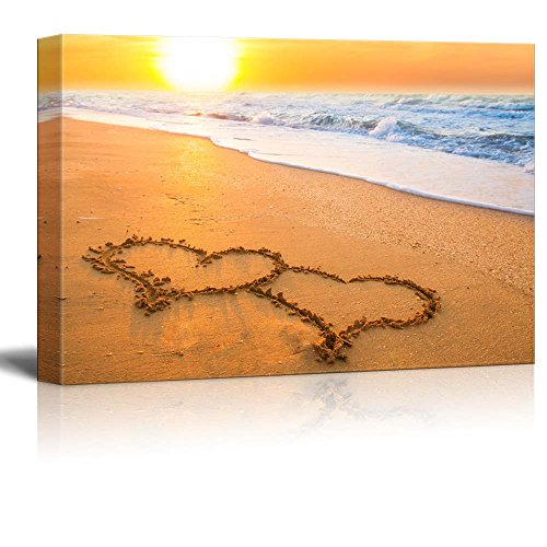 (Canvas Prints Wall Art - Beautiful Beach View/Scenery Two Hand Drawn Hearts on Beach Sand Over Sunset   Modern Wall Decor/Home Decoration- 16