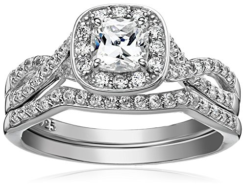 Sterling Silver Platinum Plated Swarovski Zirconia 2-piece bridal ring set