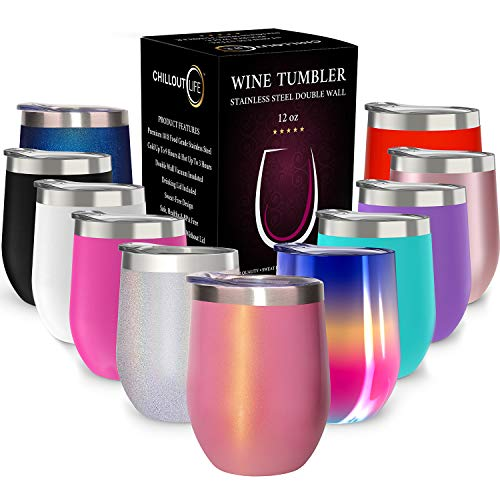 CHILLOUT LIFE Stainless Steel Stemless Wine Glass Tumbler with Lid, 12 oz | Double Wall Vacuum Insulated Travel Tumbler Cup for Coffee, Wine, Cocktails, Ice Cream - Pink Sparkle Wine Tumbler ()