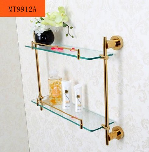 TACCY Double Bathroom Glass Shelf with Two Polished Gold Finish Brackets Brass made Toughened Safety Mounted Glass shelf #MT99A