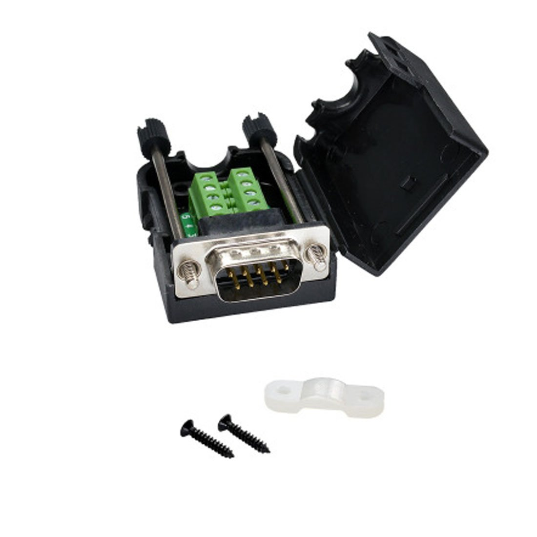 DB9 9-Pin Male Adapter RS232 Serial to 3-Position Terminal Connector with Case (Female Connector, DB9 5+5 with case (B))