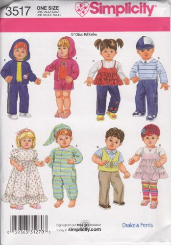 Simplicity Sewing Pattern 3517 Clothes for 15
