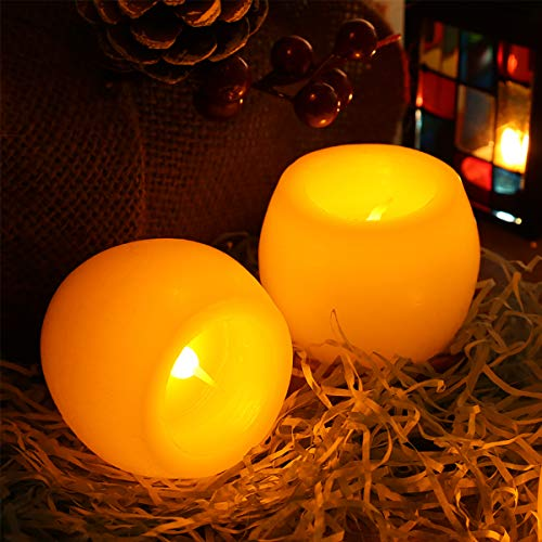 Candles Battery Operated Greenclick LED Flameless Candles Flickering Unscented for Seasonal and Festival Celebration 2 Sets (Round Battery Operated Candles)